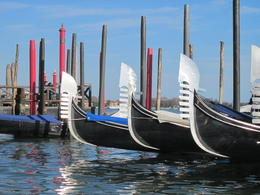The iconic view of gondolas as we ended our trip on the Grand Canal , Susan E - March 2012