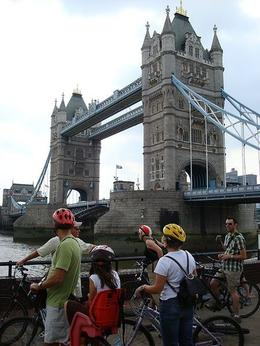 Walking our bikes across the London Tower Bridge - April 2008