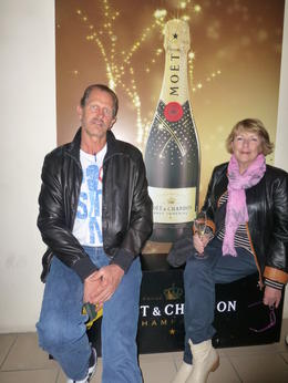 Peter and I enjoying a Champagne after the tour of the amazing caves. , Marilyn G - June 2013