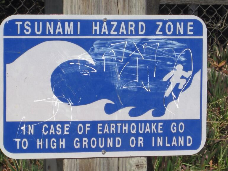 Monterey Earthquake Sign - California