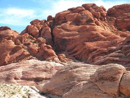 Calico Mountains, Red Rock Canyon -- Iron oxide makes it red. Can you see the mountain climber?, Raymond A S - July 2009