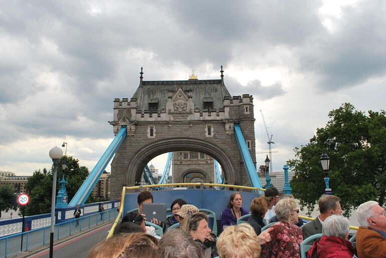 Going on the London Bridge from the Hop On Hop Off Bus - London