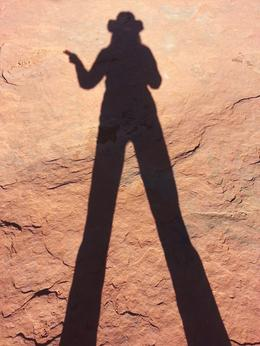 Early morning shadows of long-legged buckaroo near Chapel Rock , Peggy C - April 2013