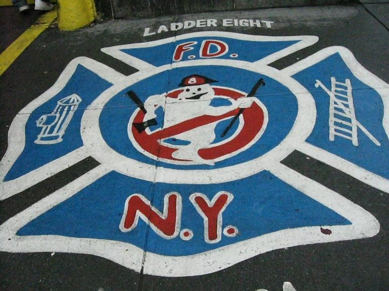 Pavement outside Firehouse used in Ghostbusters - USA