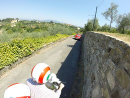 Riding the white Vespa following the two Fiat 500s , KEVIN D G - July 2015