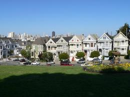 The Painted Ladies Victorian houses looked beautiful with the skyline contrasted behind. The shoe garden nearby was quirky., Judith S - April 2008