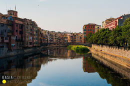 City of Girona in Spain. Standing on bridge as you walk over to the 'old town' , Kasia C - July 2013
