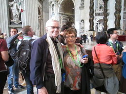 Lili and I in St. Peter's at the end of a 3 hour tour of the Vatican. , Andrew L - May 2016