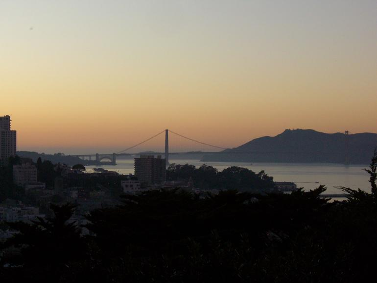 View of Golden Gate Bridge at sunset from Coit Tower - San Francisco