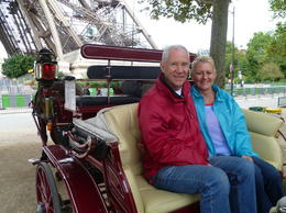 My wife and I celebrating her birthday in Paris. A surprise for her, I had told her we were booked to go up the Eiffel Tower to the top, but this lovely Carriage arrived for us, perfect. , Graham K - October 2013