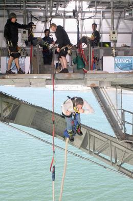 Photo of Auckland Auckland Harbour Bridge Bungy Jump Corey Plugs his Nose