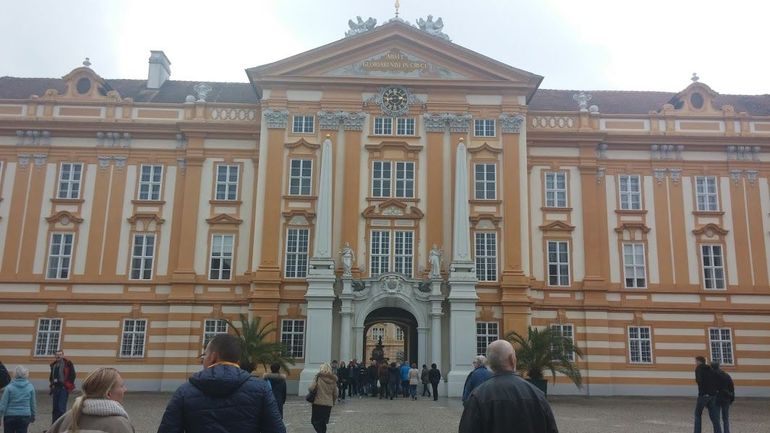 Entering the baroque abbey at Melk.