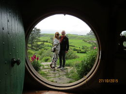 Deb and John Edmond stood outside Bag End , deborah e - December 2015