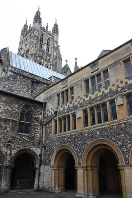 View of cathedral in Canterbury from inside the courtyard. , Carole M - August 2011
