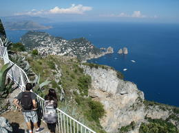 Capri, Blue Grotto, Anacapri part of the tour. We took a 10 Euro chair lift ride to the very top for this spectacular view of the Blue Grotto cove, nearly 2000 feet below. Spectacular and..., Papa Harold - July 2013