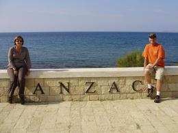 Tony and Di at the memorial with the Agean Sea in the background., Tony M - October 2008