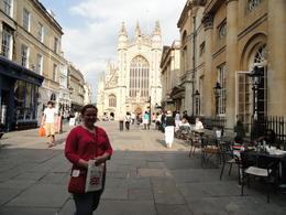 granddaughter with Bath Abbey in background, we shopped, bought souveniers, weather was fantastic, we had a wonderful day, would strongly recommend this if you want to see more of England besides..., Trudie O - May 2011