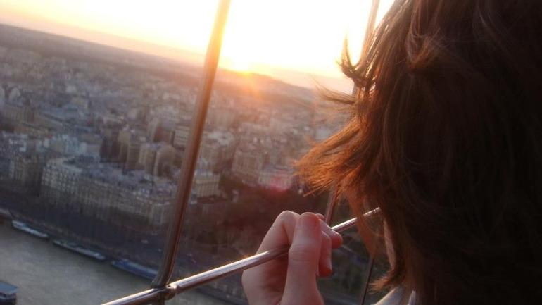 beautiful view of the sunset from the second level - Paris