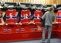 The Canadiens' dressing room - way too tidy. - December 2009