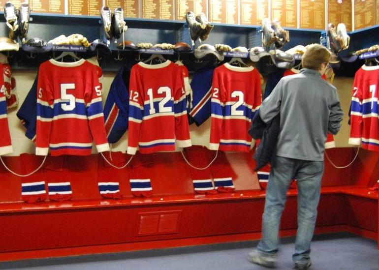The Canadiens' dressing room - way too tidy.
