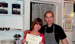 Photo of Florence Florence Cooking Class: Learn How to Make Gelato and Pizza Proud diploma earner.
