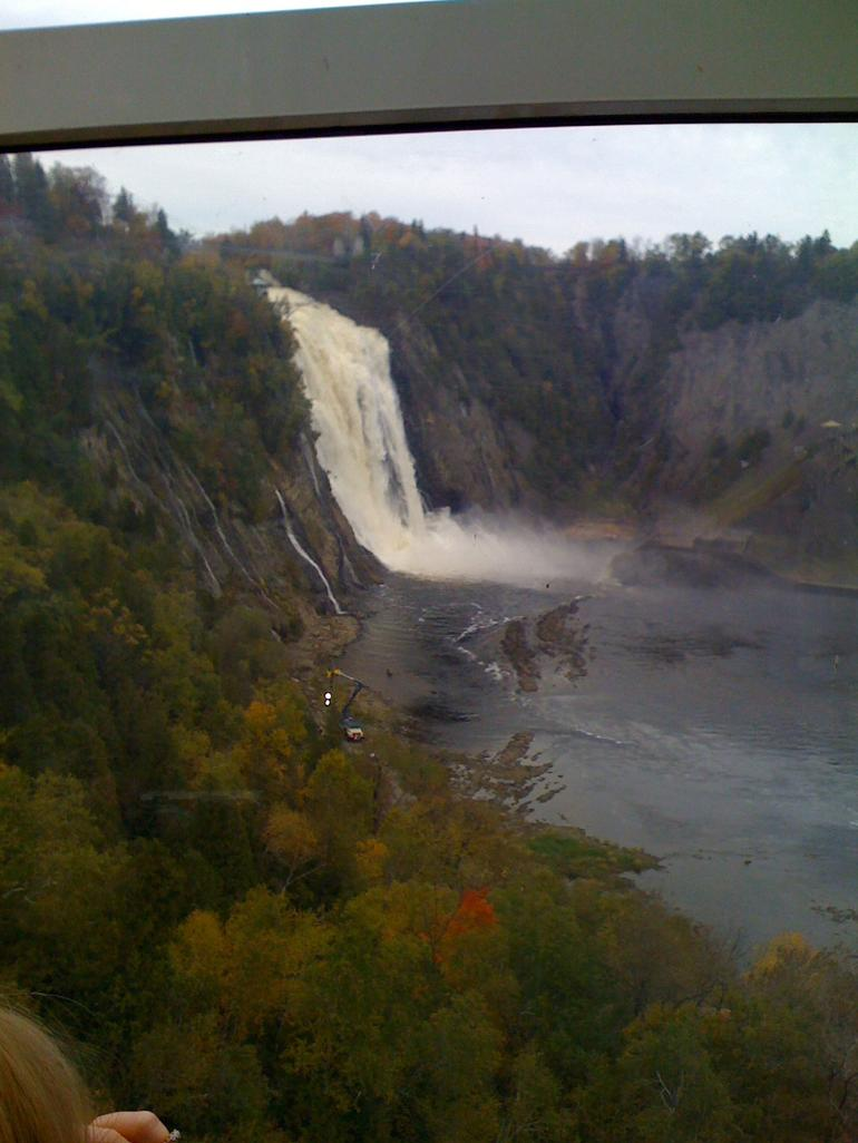 view from cable car over falls QC - Montreal