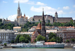 This is the Buda side - in the picture: Matthias Church, Fishermen's Bastion and Hotel Hilton - May 2011