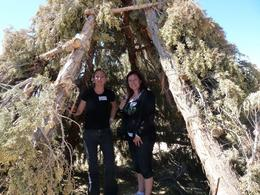 Jacque and Suzann pose in the Hualapai house. - May 2009