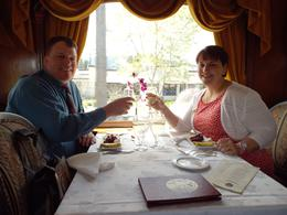 My husband and I toasting our wine train date. , Dawn C - April 2014