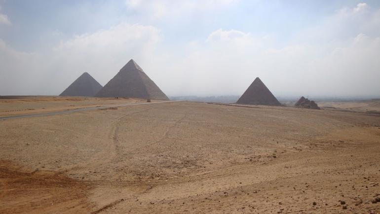 Panorama of the pyramids in Giza - Cairo