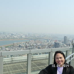 The top of the Umeda Sky Building gives us a panoramic view of the Osaka Cityscape and Skyline , Catherine C - April 2014