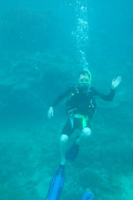 me diving at great barrier reef. On my back, above corals. , Michiel M - April 2014