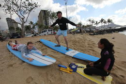 Photo of Oahu Oahu Surf Lessons: Class and Equipment at Ala Moana Beach with Round-Trip Transport Getting ready