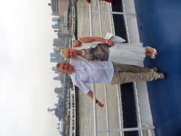 My husband and I leaving the harbour. , Catherine T - September 2011