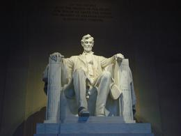 There was a rule that no monument could be taller than the Capital building when the Lincoln Memorial was built. Due to this restriction they made this monument of Lincoln sitting down so that they..., Christine C - May 2008