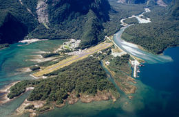 Aerial photo of the airstrip at Milford Sound in New Zealand - June 2011