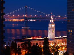 Photo of   Night scene of Ferry Building & Bay Bridge