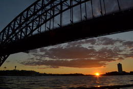 Sunset while taking the ferry from Circular Quay to Darling Harbour, passed under the Harbour Bridge , Tan S - September 2012