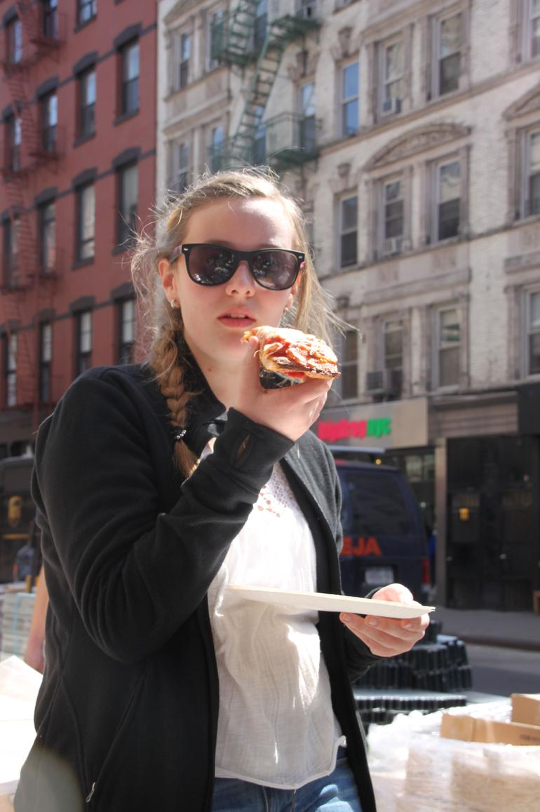 Trying a Sicilian slice at Ben's in SoHo - New York City
