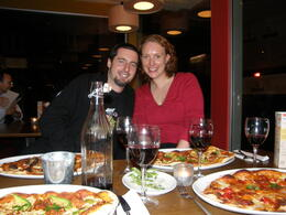 My sister and her husband at the Amano Cafe, digging into the fantastic pizzas! , Tighthead Prop - December 2010