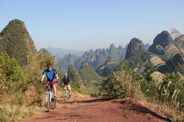 With the beautiful Yangshuo countryside behind us - October 2012