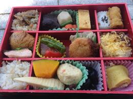 Random different foods in a bento box - June 2014