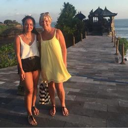 This is me and my daughter standing at Tanah Lot , AMAZING place to see , Karen M - June 2015