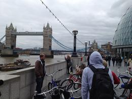 Standing by the City Hall looked over at the City and Tower Bridge, and learning about the Great Fire of London., Nick - April 2012