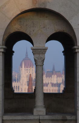 Budapest's Parliament building through arches at Fishermen's Bastion , Photoman - January 2011