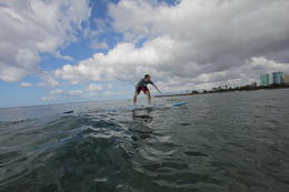 Photo of Oahu Oahu Surf Lessons: Class and Equipment at Ala Moana Beach with Round-Trip Transport Easy does it..