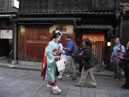 The geisha gets out of a taxi and walks a short distance then turns up a lane on her way to work. You have to be quick with your camera. , Warren F - November 2014
