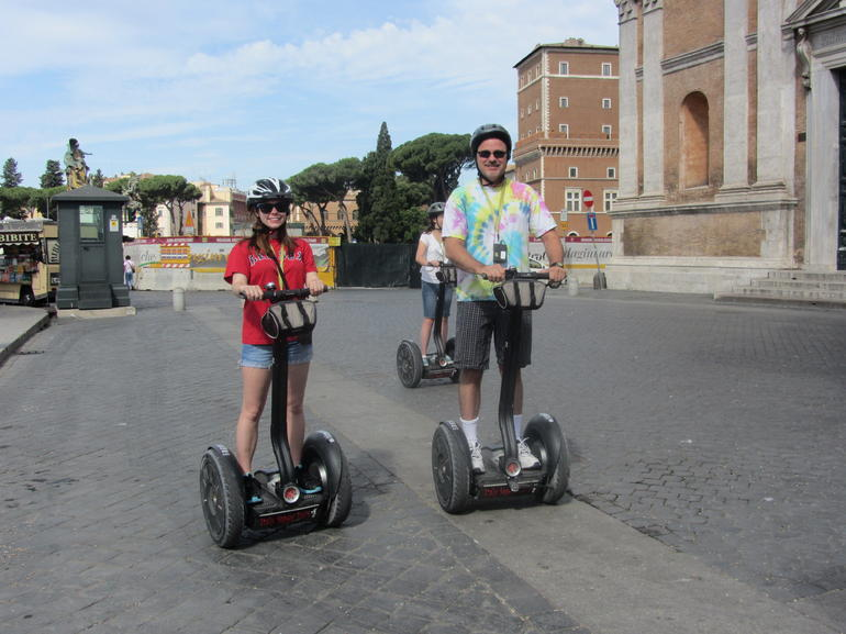 Segway training in progress. They did a good job with the training and the tour was great! Wayne Somero with daughter Jess who is studying abroad in Florence.