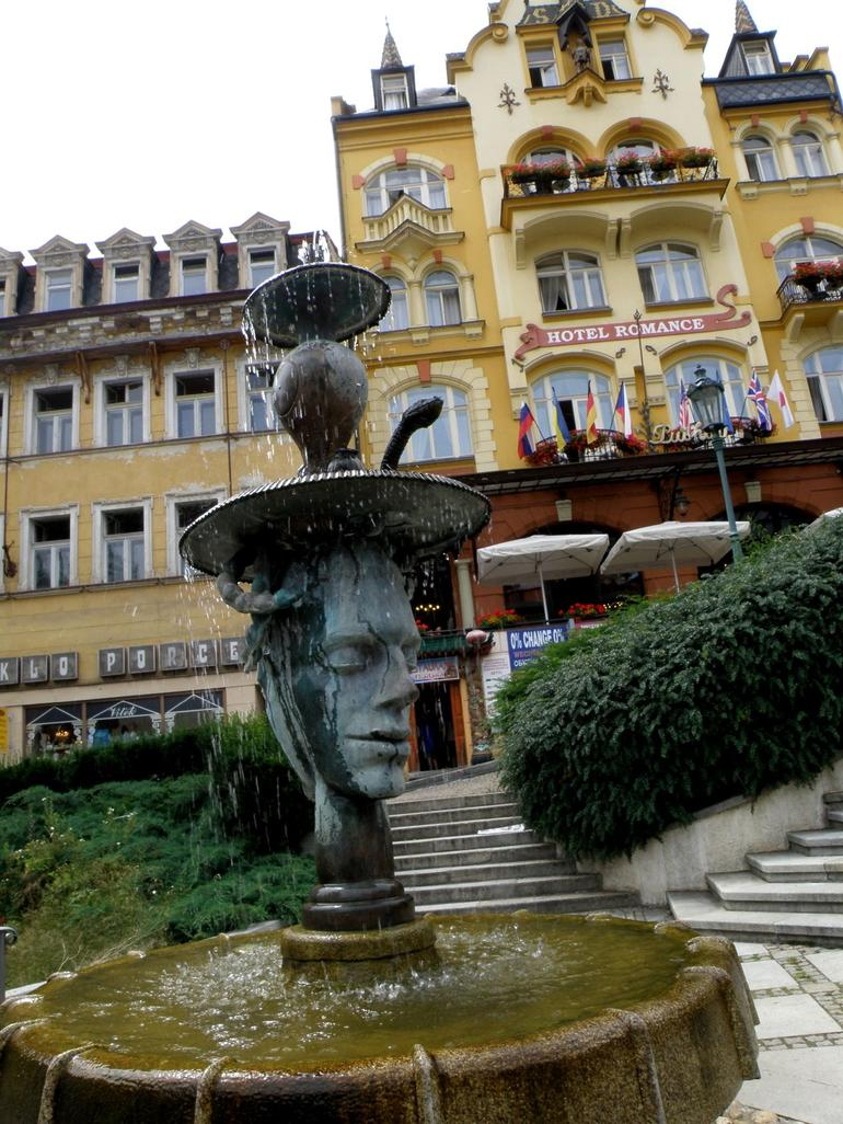 Karlovy Vary. Two faces fountain - Prague