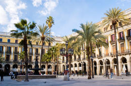 Placa Real, Barcelona - famous Spanish square next to Las Ramblas - November 2011